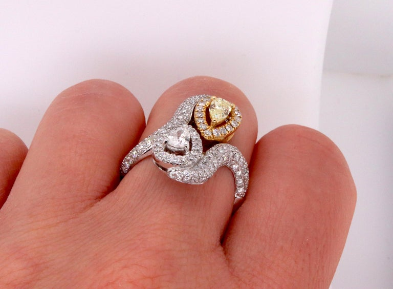 0.36 Pear Shaped Yellow Diamond and White Diamond Ring In New Condition For Sale In GREAT NECK, NY