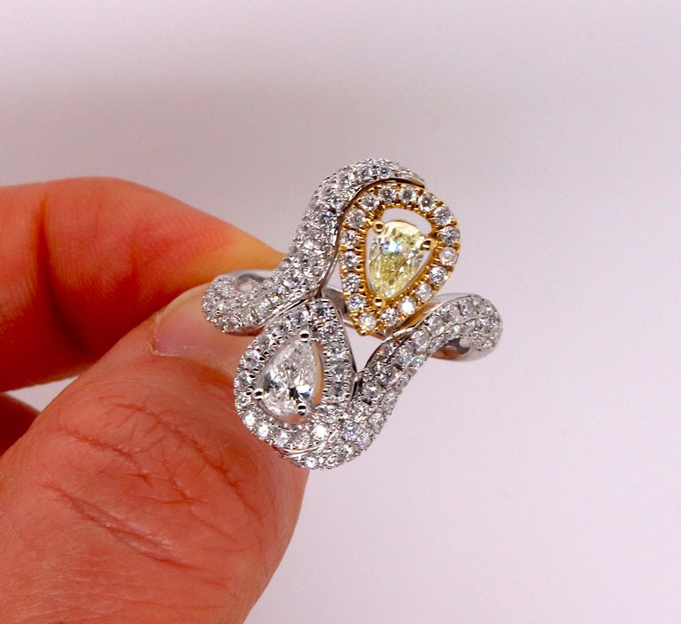 0.36 Pear Shaped Yellow Diamond and White Diamond Ring For Sale 1