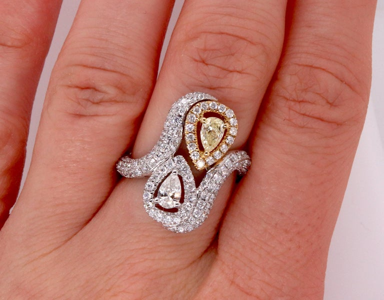 0.36 Pear Shaped Yellow Diamond and White Diamond Ring For Sale 2