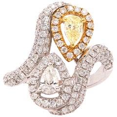 0.36 Pear Shaped Yellow Diamond and White Diamond Two Stone Toi Et Moi Ring