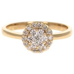 0.37 Carat Diamond 14 Karat Yellow Gold Cluster Ring