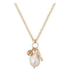 0.37 Carat Diamond and Baroque Pearl Charm Pendant