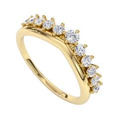 0.37 Carat Diamond Crown Band Ring in 14k Yellow Gold, Shlomit Rogel