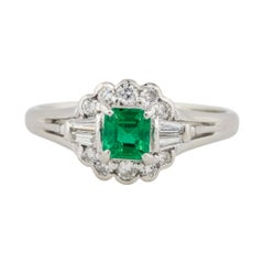0.37 Carat Emerald Center Diamond Cocktail Ring Platinum in Stock
