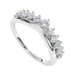 0.37 Carat Genuine Diamond Crown Band Ring in 14k White Gold, Shlomit Rogel