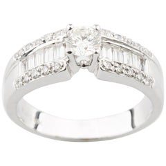 0.37 Carat Round Diamond Solitaire Ring in White Gold with Accents
