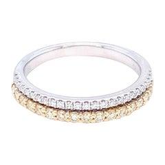 0.37 Carat Yellow & White Diamond Band Ring in 14k Two Tone Gold