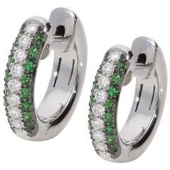 0.37 Tsavorite 0.28 White GVS Diamonds 18 Karat White Gold Small Hoop Earrings