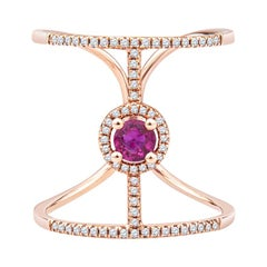 0.37ct Round Ruby and 0.19ctw in Accent Diamond Trendy Fashion Ring