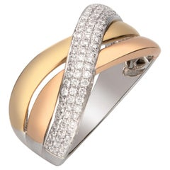 0.38 Carat Diamond 14 Karat Three-Tone Gold Band Ring