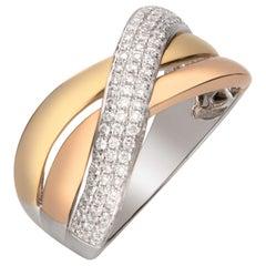 0.38 Carat Diamond 14 Karat Three-Tone Gold Band Ring