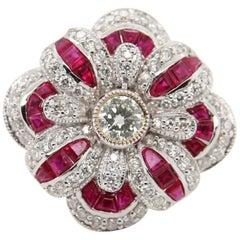 0.38 Carat Diamond and Ruby 18 Karat Gold Ring