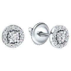 0.38 Carat Diamond Mini Halo Earrings in 14 Karat White Gold - Shlomit Rogel
