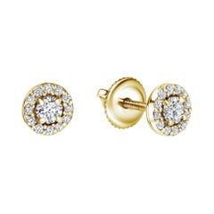 0.38 Carat Diamond Mini Halo Earrings in 14 Karat Yellow Gold, Shlomit Rogel