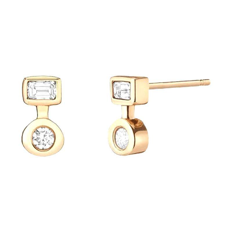 Hi June Parker Gold Stud Earrings 0.38 Carat Emerald and Round Cut Diamond
