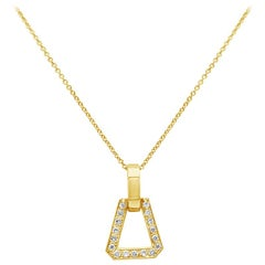 0.38 Carat Round Diamond Open-Work Pendant Necklace in Yellow Gold