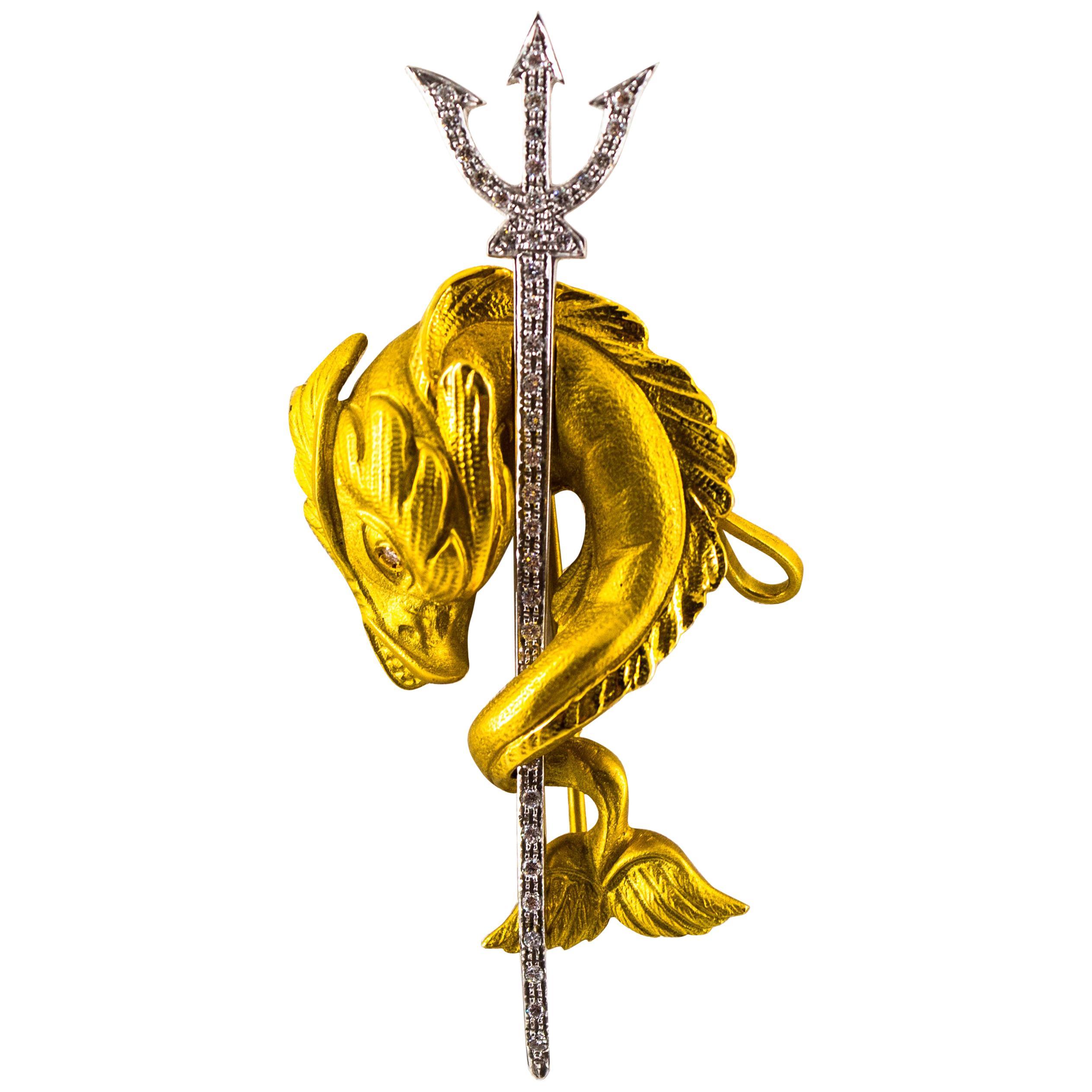 "0.38 Carat White Brilliant Cut Diamond Yellow Gold ""Poseidon's Pistrice"" Brooch"