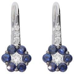 0.38 White GSI Diamonds 0.84 Blue Sapphire 18 Karat White Gold Earrings