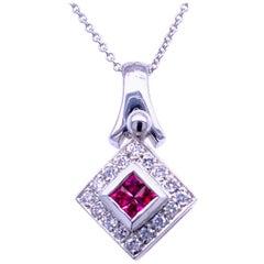 0.39 Carat Diamond/0.40 Carat Rubies 18 Karat Gold Pendant