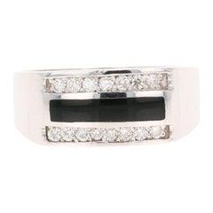 0.39 Carat Diamond Onyx Men's Ring 14 Karat White Gold