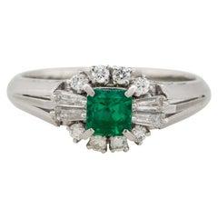 0.39 Carat Emerald Center Diamond Cocktail Ring Platinum in Stock