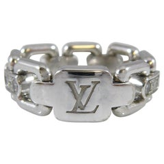 0.39 Carat Louis Vuitton Diamond and White Gold Ring, Flexible Cable Links