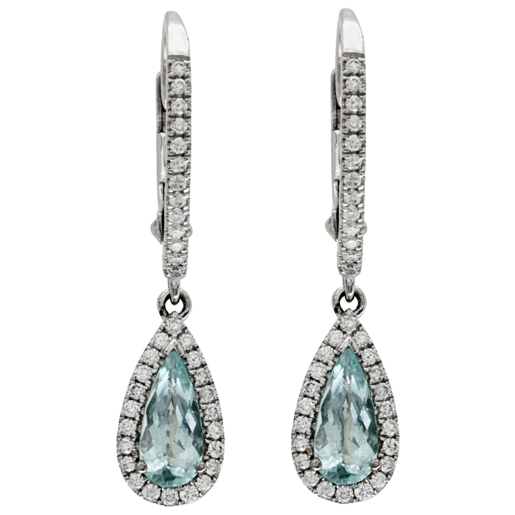 0.39 Carat Paraiba and 0.35 Carat Diamonds 14 Karat White Gold Dangle Earrings