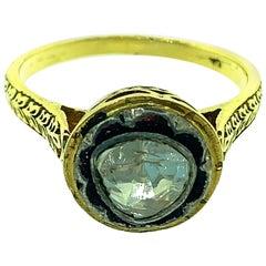 0.39 Carat Old Mine 'Polki Diamond' in Oxidized Sterling Silver, 14 Karat Gold