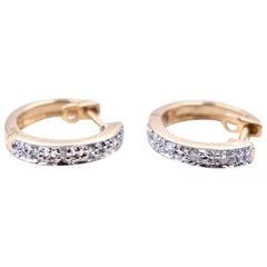 0.4 Carat Diamond 14 Karat Yellow Gold Huggie Earrings