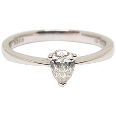 0.40 Carat 18 Karat White Gold Pear Shape Diamond Engagement Ring