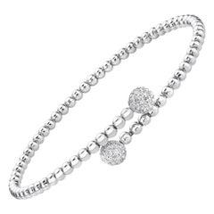 0.40 Carat 18k Gold Diamond Open Bracelet Diamond Bubble Bangle Bracelet Charm