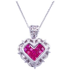 0.40 Carat Diamond/1.30 Carat Ruby 18 Karat Gold Hearts Pendant Necklace