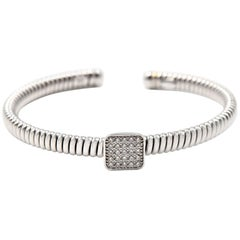 0.40 Carat Diamond 18 Karat White Gold Square Flex Cuff Bracelet
