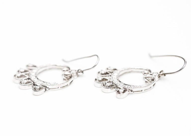 040 carat diamond and 14 karat white gold chandelier earrings for diamond chandelier earrings in 14 karat white gold each earring features a graceful diamond encrusted aloadofball Choice Image