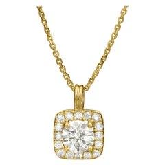 0.40 Carat Diamond Art Deco Square Necklace in 14k Yellow Gold, Shlomit Rogel