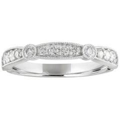 0.40 Carat Diamond Milgrain Wedding Gold Half Band Ring