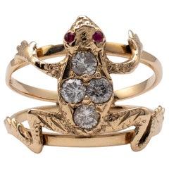 0.40 Carat Diamond Ruby Frog Ring 18 Karat Gold