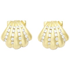 0.40 Carat Diamonds Set in 18 Karat Gold Nantucket Scallop Shell Posts