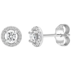 0.40 Carat Halo Solitaire Round Brilliant Cluster 18k Gold Stud Diamond Earrings