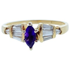 0.40 Carat Marquise Amethyst and Diamond Cocktail Ring in 14 Karat Yellow Gold