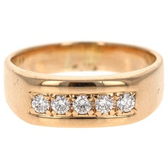 0.40 Carat Men's Diamond Band 14 Karat Yellow Gold