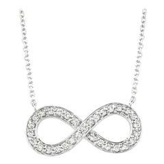 0.40 Carat Natural Diamond Infinity Necklace 14 Karat White Gold G SI
