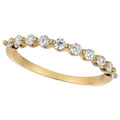 0.40 Carat Natural Diamond Ring G SI 14 Karat Yellow Gold 10 Stones