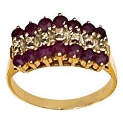 0.40 Carat Natural  Ruby and Diamond 14 Karat Yellow Gold Ring