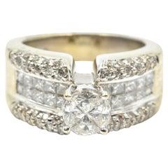 0.40 Carat Quadset Trillion Diamonds with Diamond Mount Engagement Ring