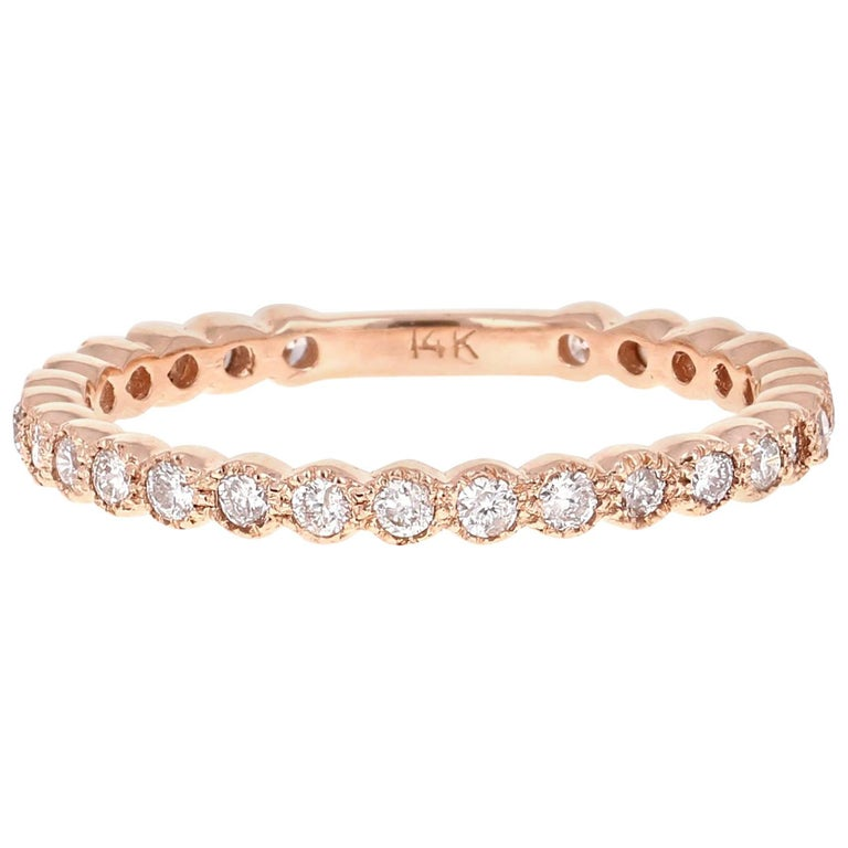 a0e2bb26e11 0.40 Carat Round Cut Diamond Rose Gold Stackable Band For Sale at ...