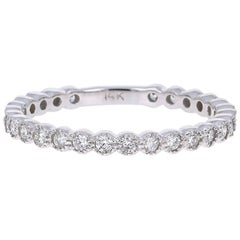 0.40 Carat Round Cut Diamond White Gold Stackable Band