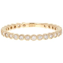 0.40 Carat Round Cut Diamond Yellow Gold Stackable Band