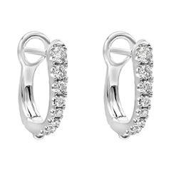 0.40 Carat Round Diamond Hoop Earrings in 18k White Gold