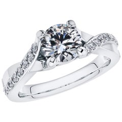 0.40 Carat Round Diamond Twisted 18 Karat White Gold 4 Prong Engagement Ring